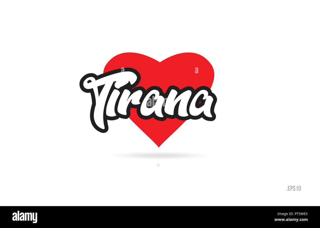 tirana city text design with red heart typographic icon design suitable for touristic promotion - Stock Vector