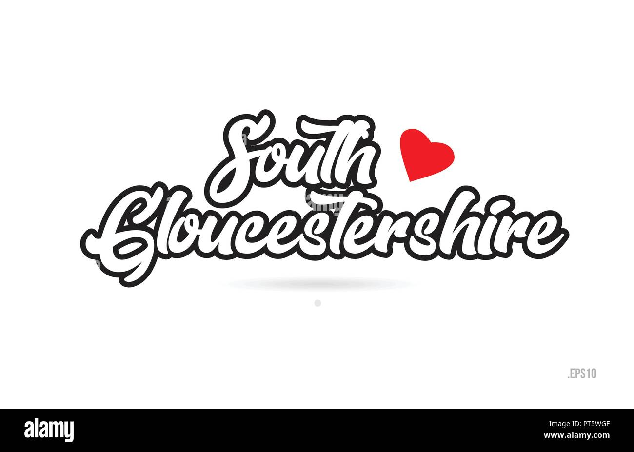 south gloucestershire city text design with red heart typographic icon design suitable for touristic promotion - Stock Vector