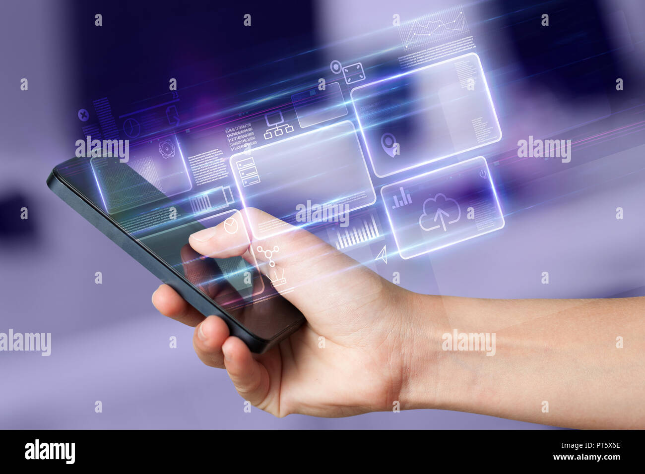 Hand using  phone with database reports and online work concept  - Stock Image