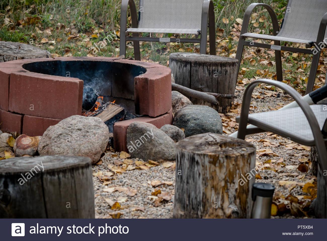 A Brick Fire Pit In A Canadian Backyard Stock Photo 221406616 Alamy