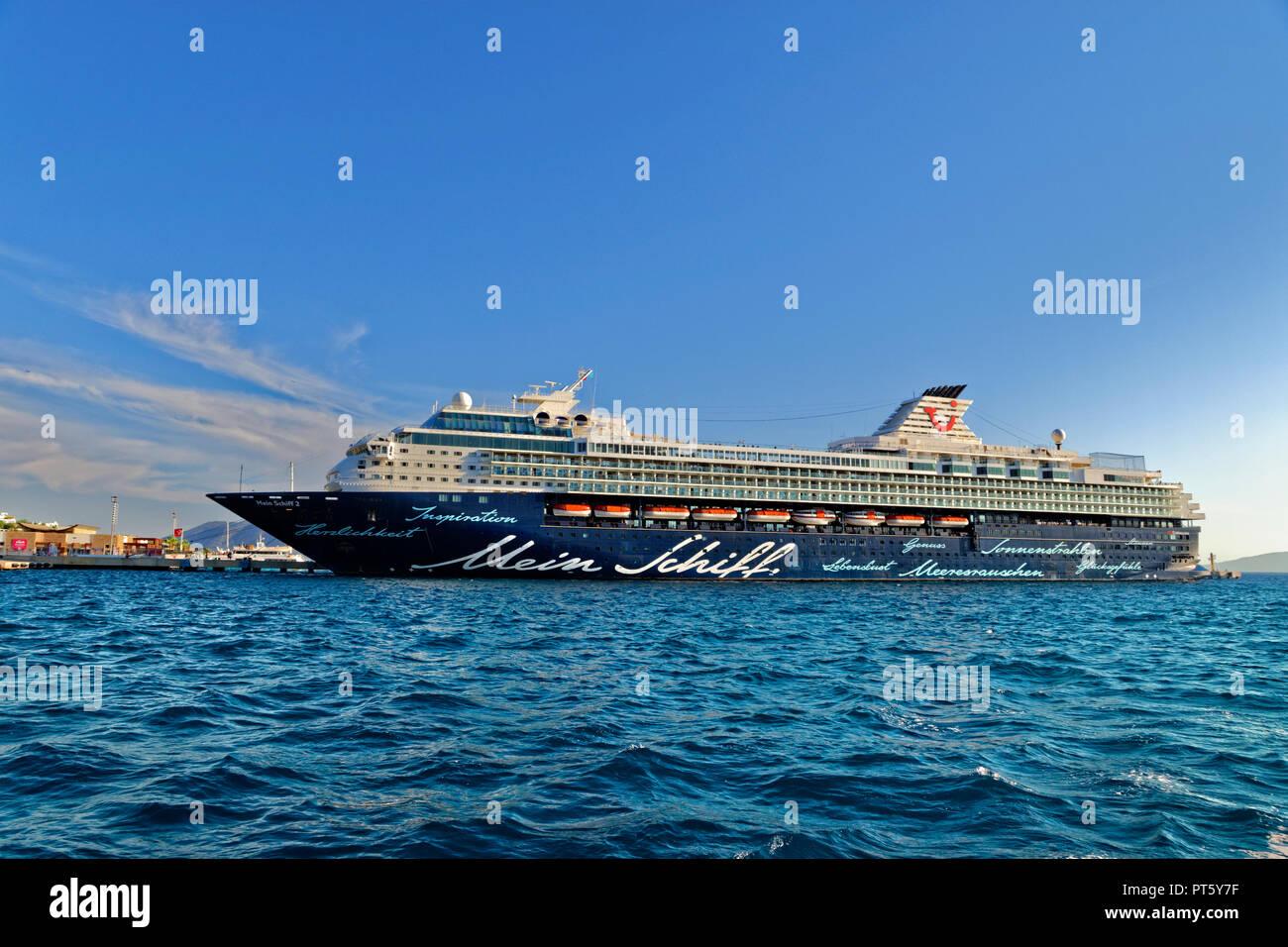 Tui cruise ship 'Mein Schiff 2' docked at Bodrum in Turkey. - Stock Image