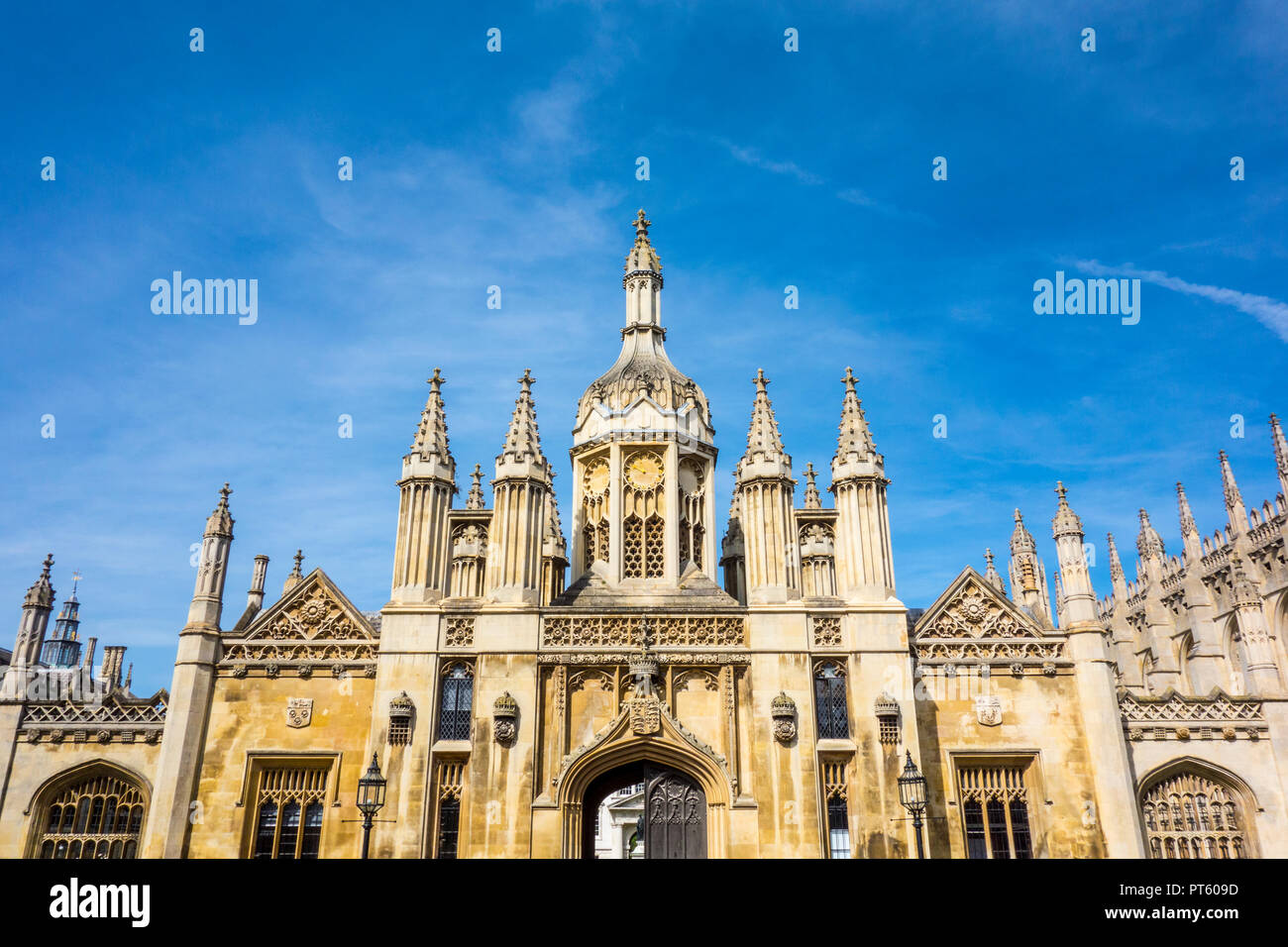 King's College Gatehouse entrance and Porters' Lodge, King's College, University of Cambridge, medieval gothic building, King's Parade, Cambridge, UK - Stock Image