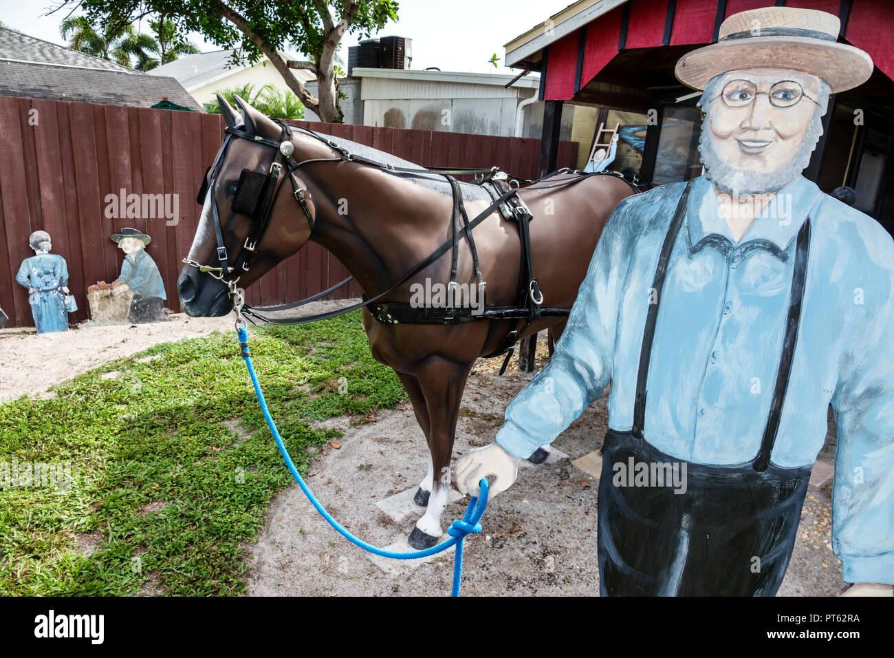 Sarasota Florida Pinecraft Pine Craft Amish community humor humour life-size cutout man horse buggy Stock Photo