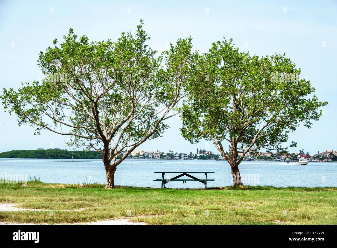 St. Saint Petersburg Florida Bay Pines War Veterans Memorial Park Boca Ciega Bay picnic table - Stock Image