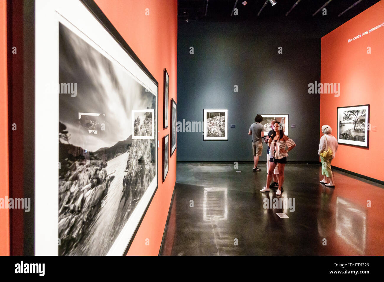 St. Saint Petersburg Florida Salvador Dali Museum surrealist art interior Clyde Butcher photographer large format black & white photographs Visions Da - Stock Image