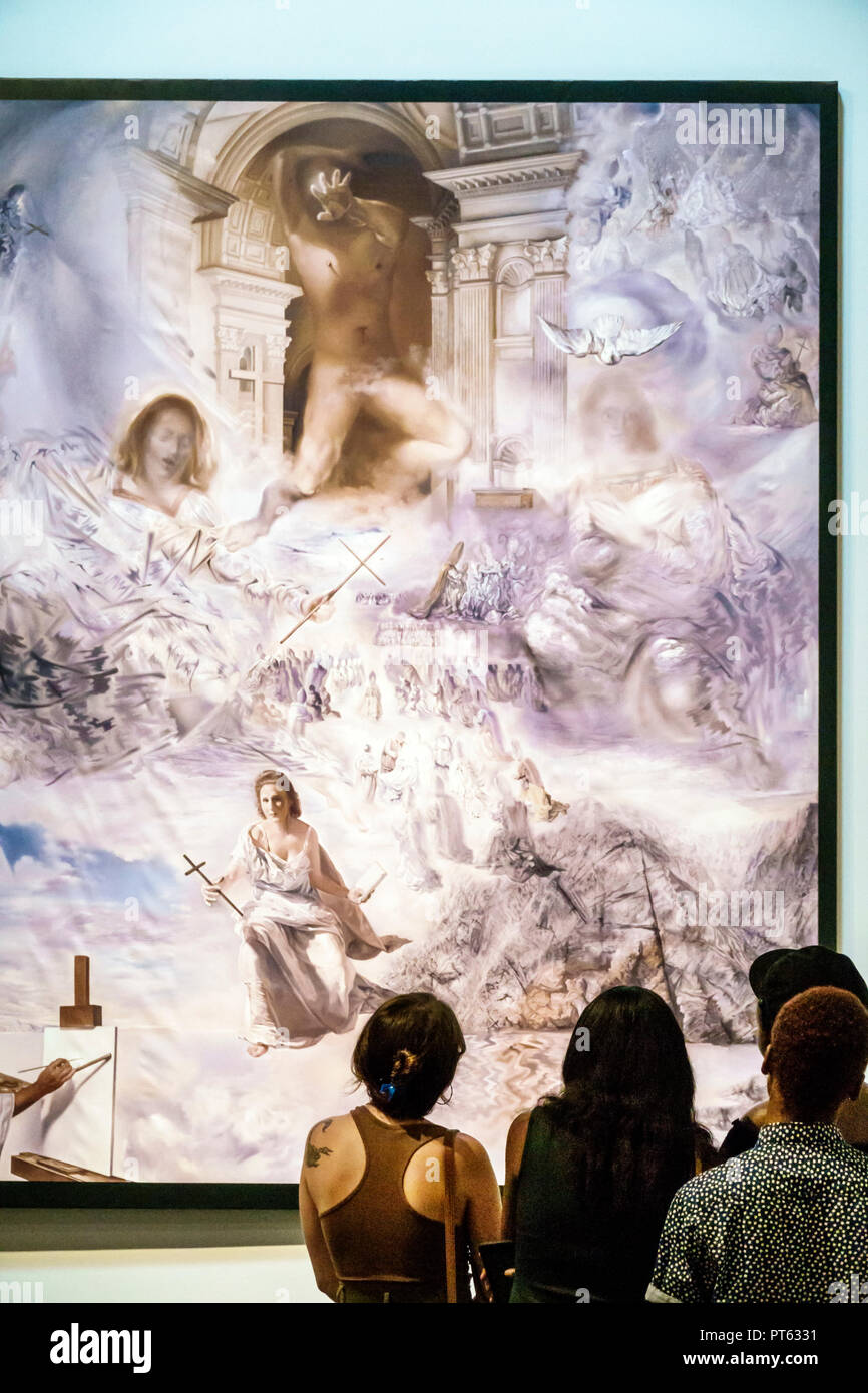St. Saint Petersburg Florida Salvador Dali Museum surrealist art interior The Ecumenical Council painting looking - Stock Image