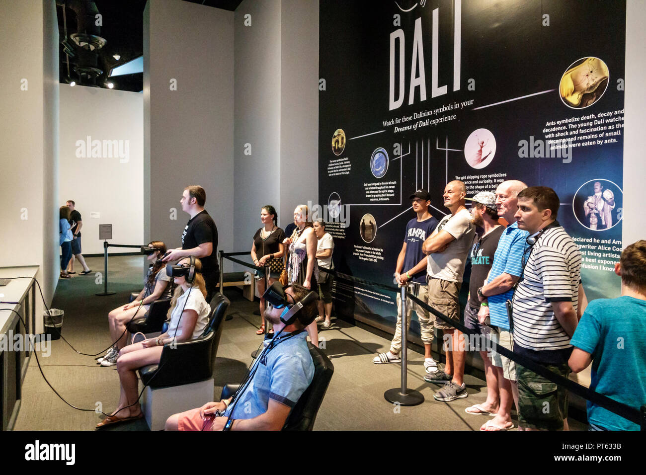 St. Saint Petersburg Florida Salvador Dali Museum surrealist art interior virtual reality line queue - Stock Image