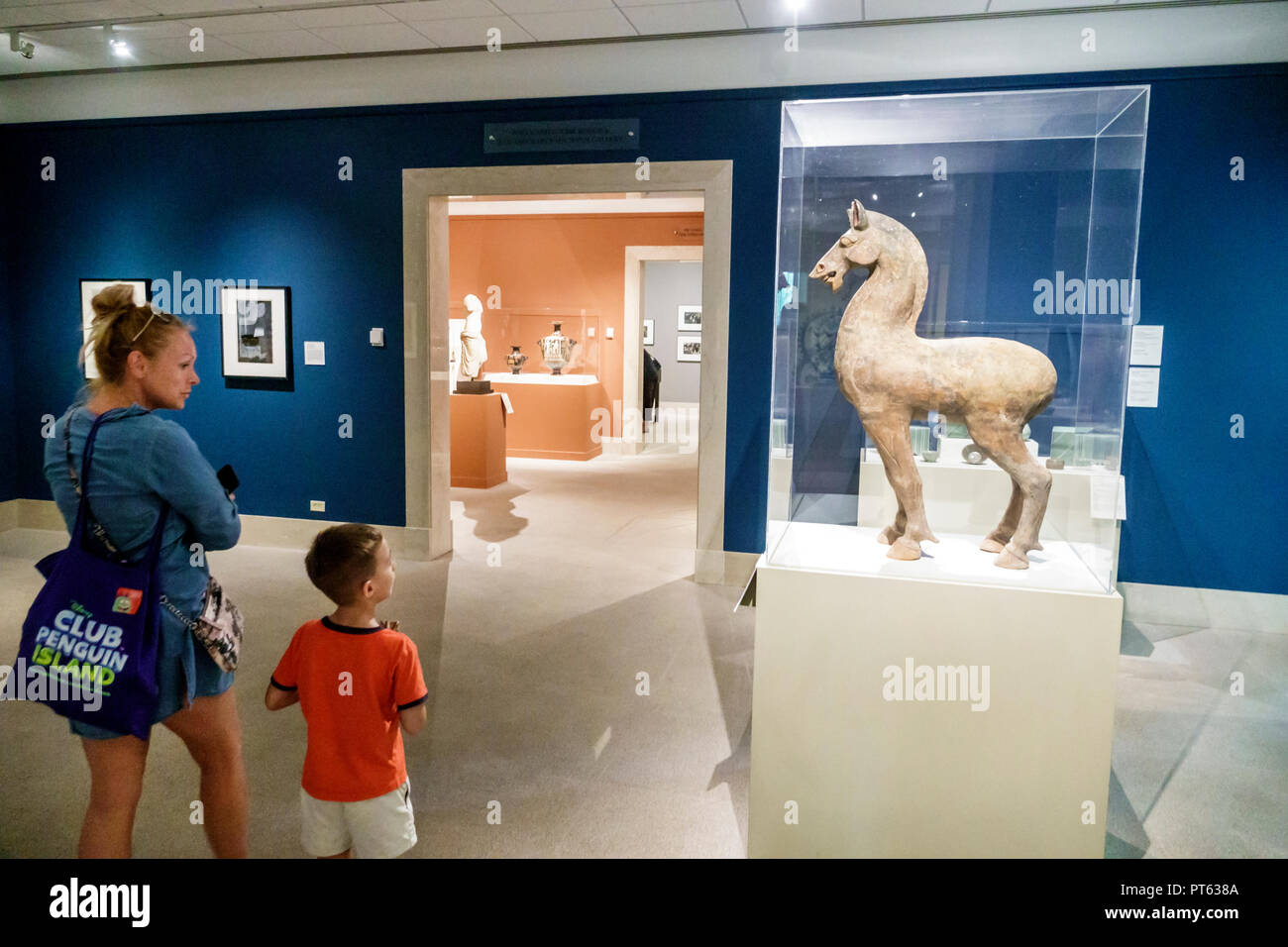 St. Saint Petersburg Florida Museum of Fine Arts interior mother son boy family Standing Horse earthenware China Han Dynasty looking - Stock Image