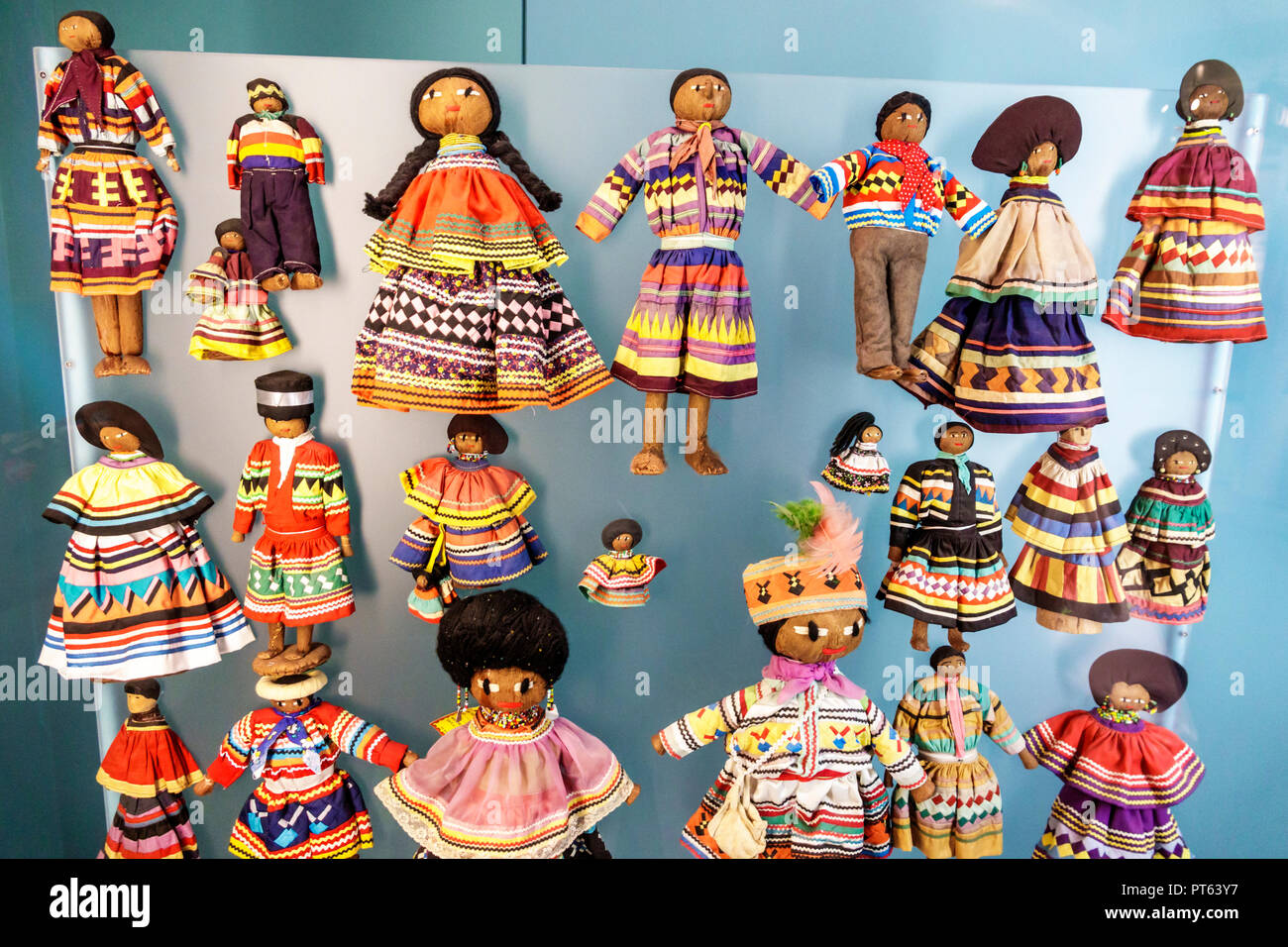 Tampa Florida Tampa Bay History Center centre inside collection exhibits Seminole dolls - Stock Image