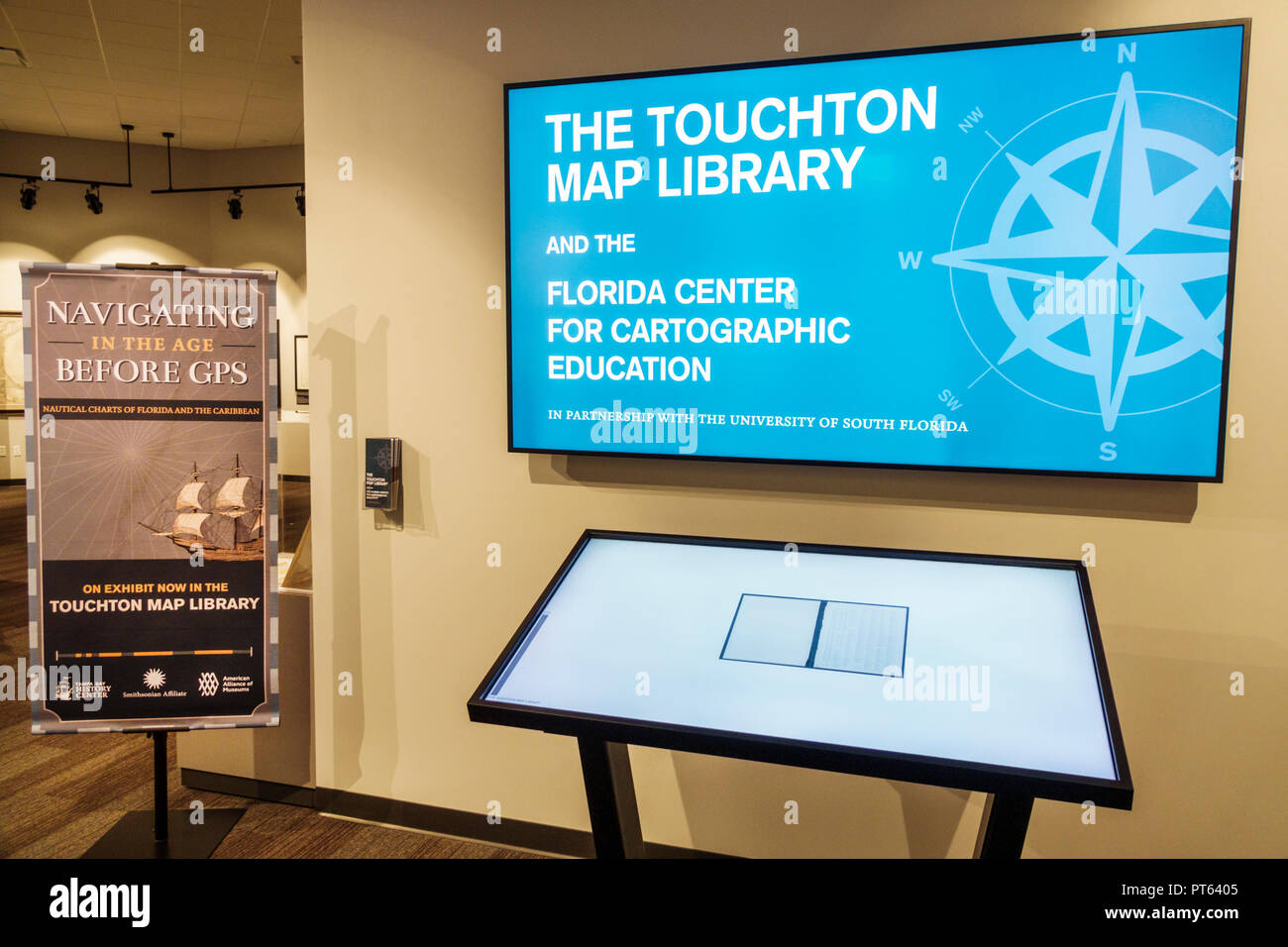 Tampa Florida Tampa Bay History Center centre inside collection exhibits map library cartographic education - Stock Image