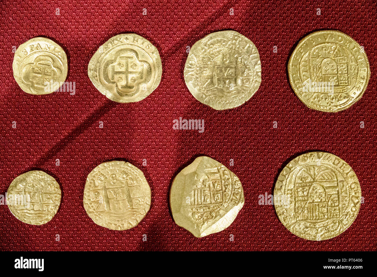 Tampa Florida Tampa Bay History Center centre inside collection exhibits Spanish gold coins shipwreck treasure - Stock Image