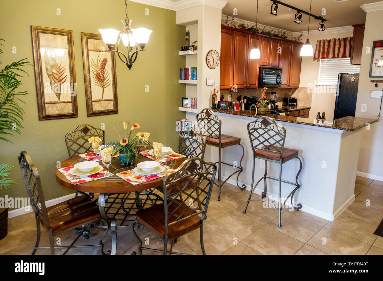 Davenport Florida Bella Piazza rental condominium apartment dining room kitchen inside - Stock Image