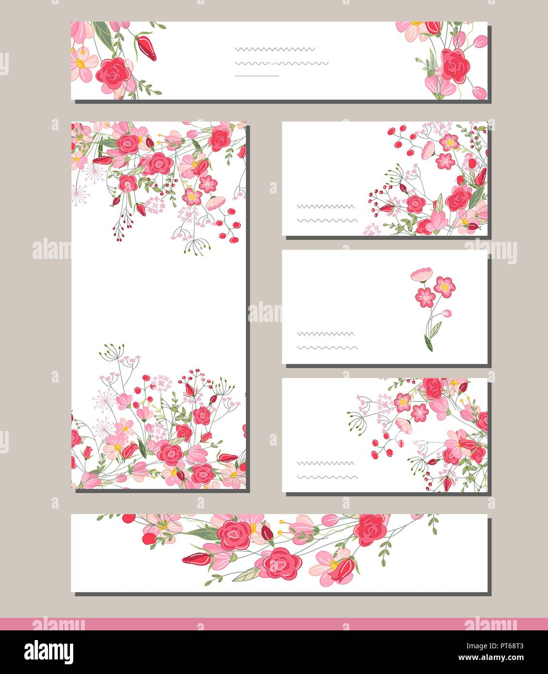floral spring templates with cute bunches of red roses for romantic