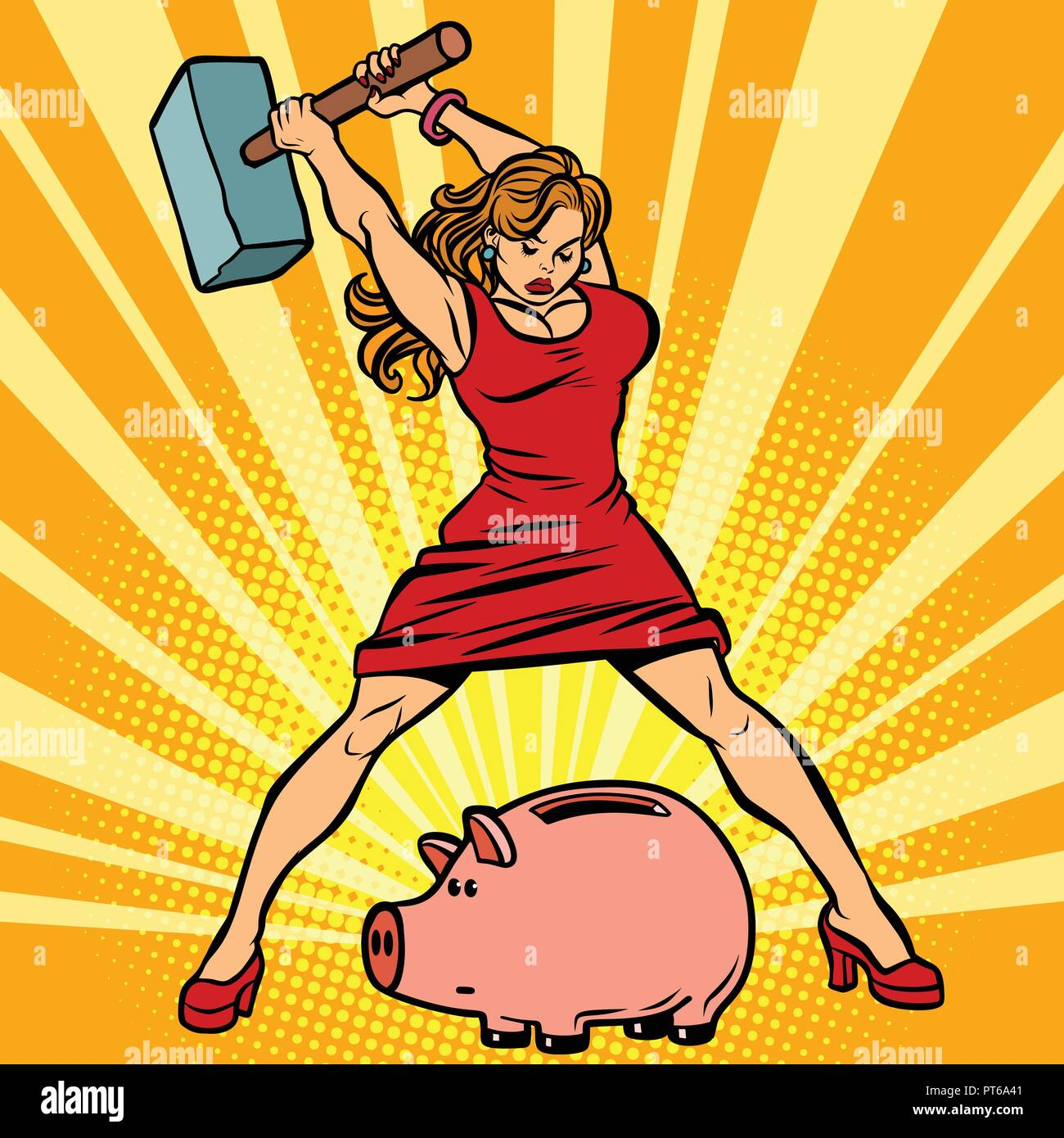 woman breaks piggy Bank. Finance, Economics and consumption. Comic cartoon pop art retro vector illustration drawing - Stock Vector