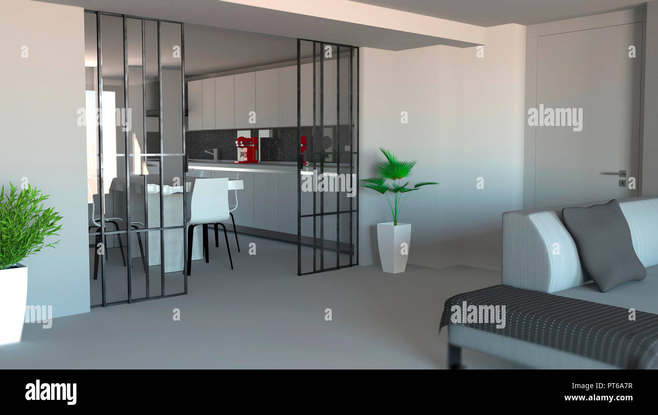 Sliding Door Living Room And Kitchen Partition Modern Apartment Entrance Industrial Style 3d Rendering Stock Photo Alamy