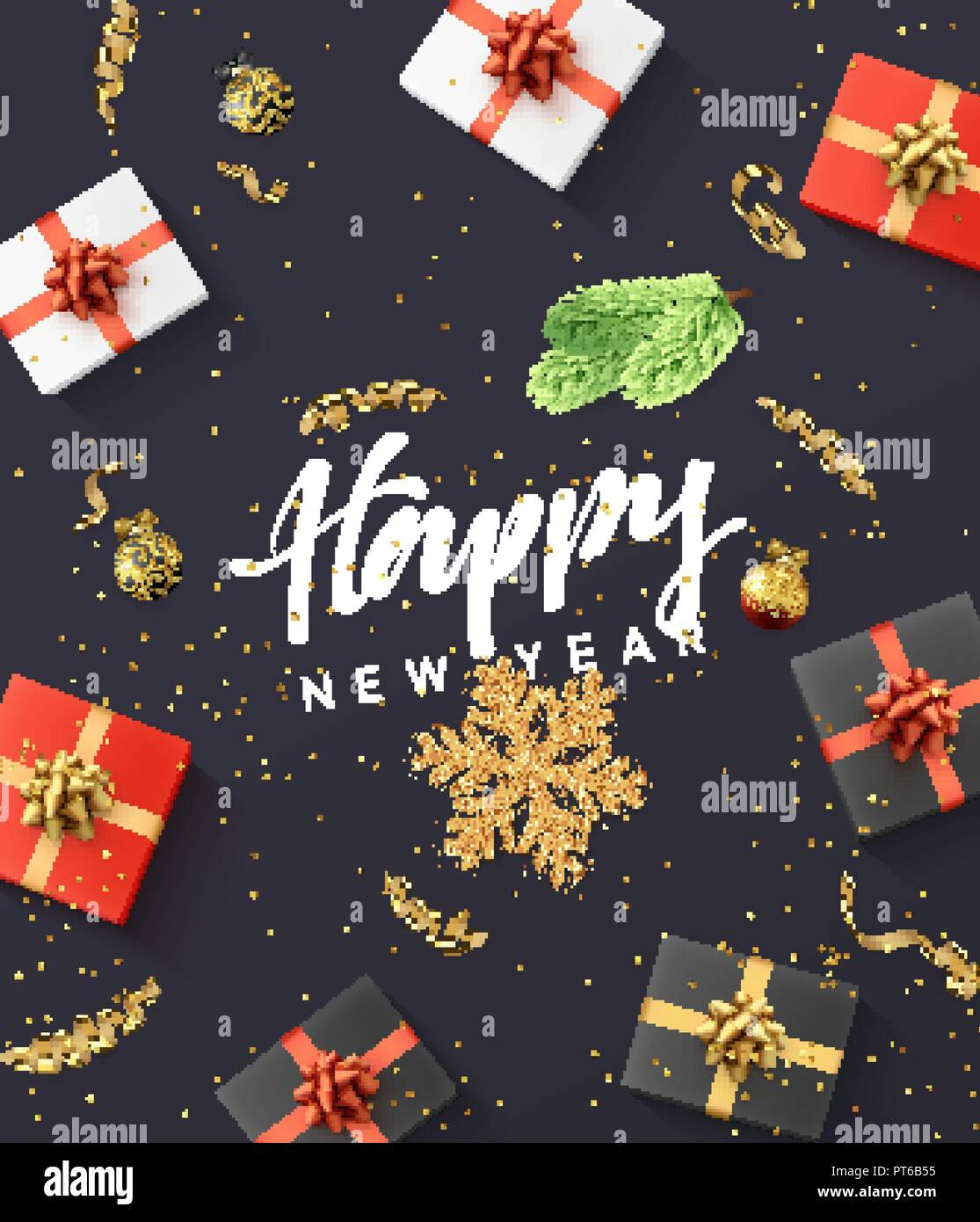 happy new year background christmas composition from holiday decorations gift confetti golden snowflake and xmas balls