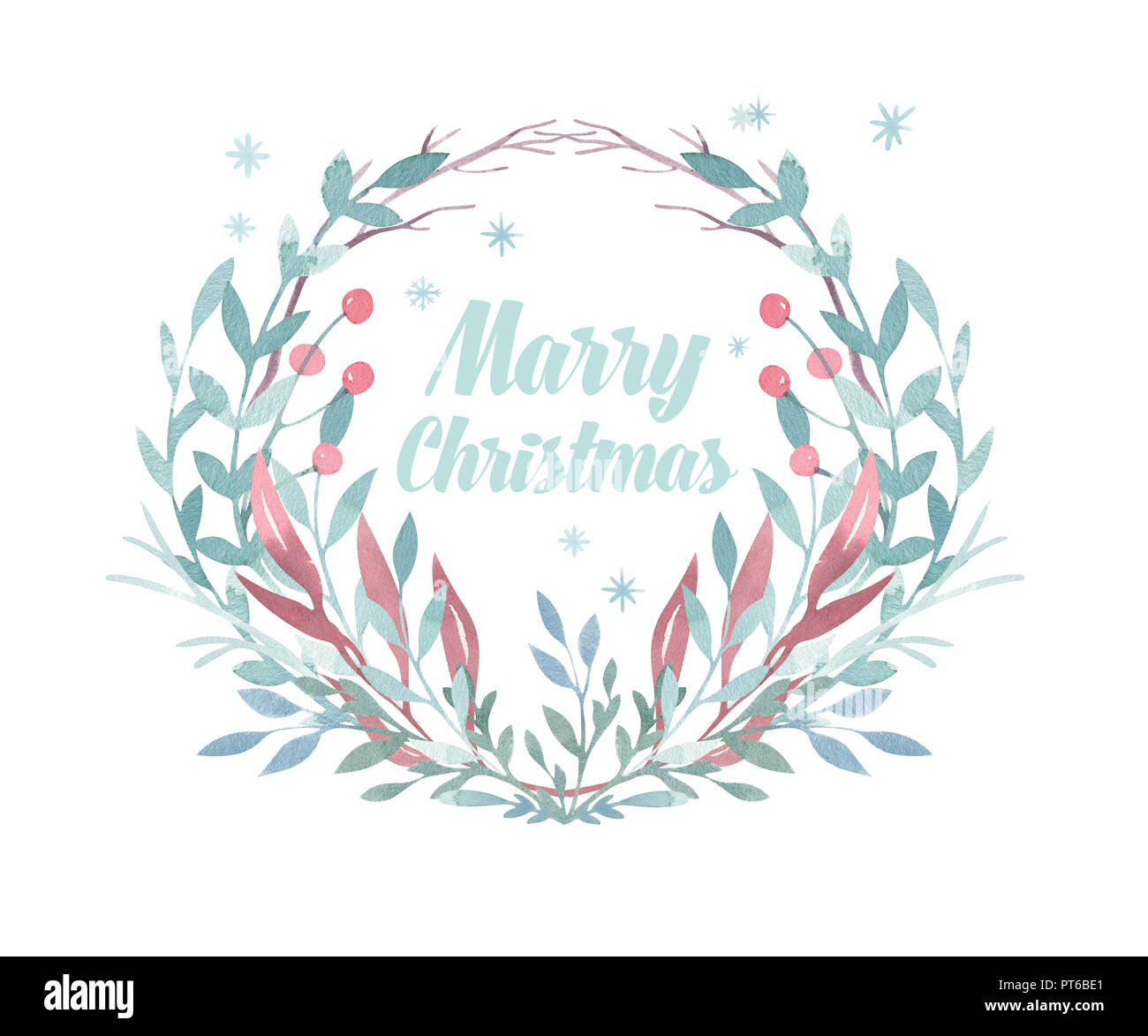 Christmas Wreath Card Winter Watercolor Painting Illustration Berry Wreath For Christmas Watercolor Holiday Frame Stock Photo Alamy