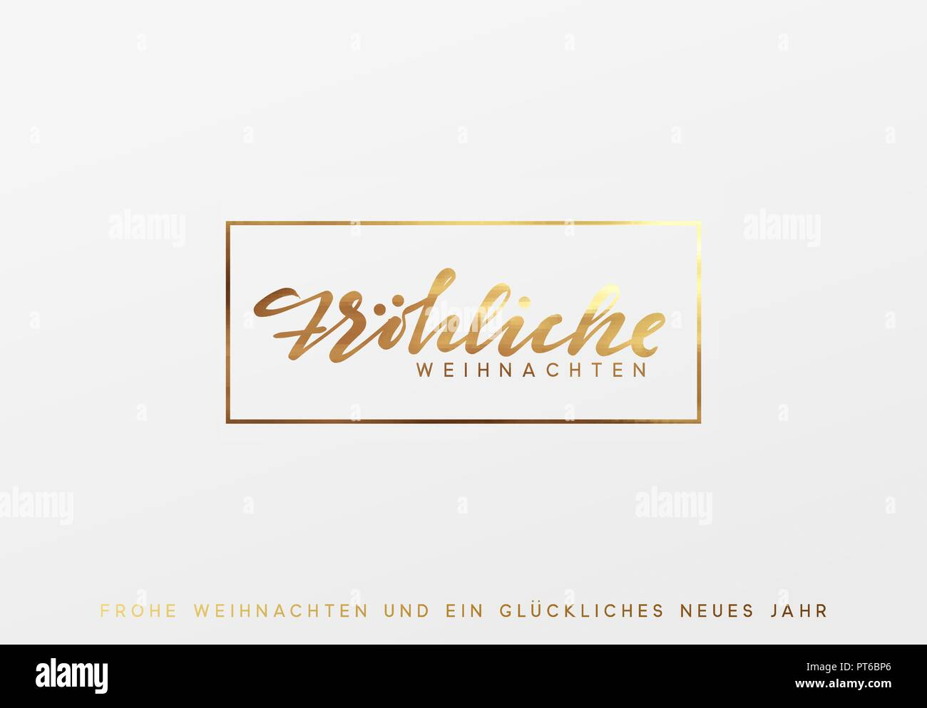 German text Frohliche Weihnachten. Merry Christmas gold lettering in a frame background. - Stock Image