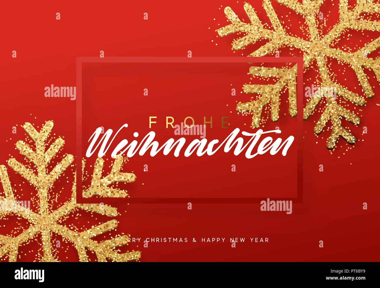 Frohe Weihnachten Xmas Background With Shining Golden