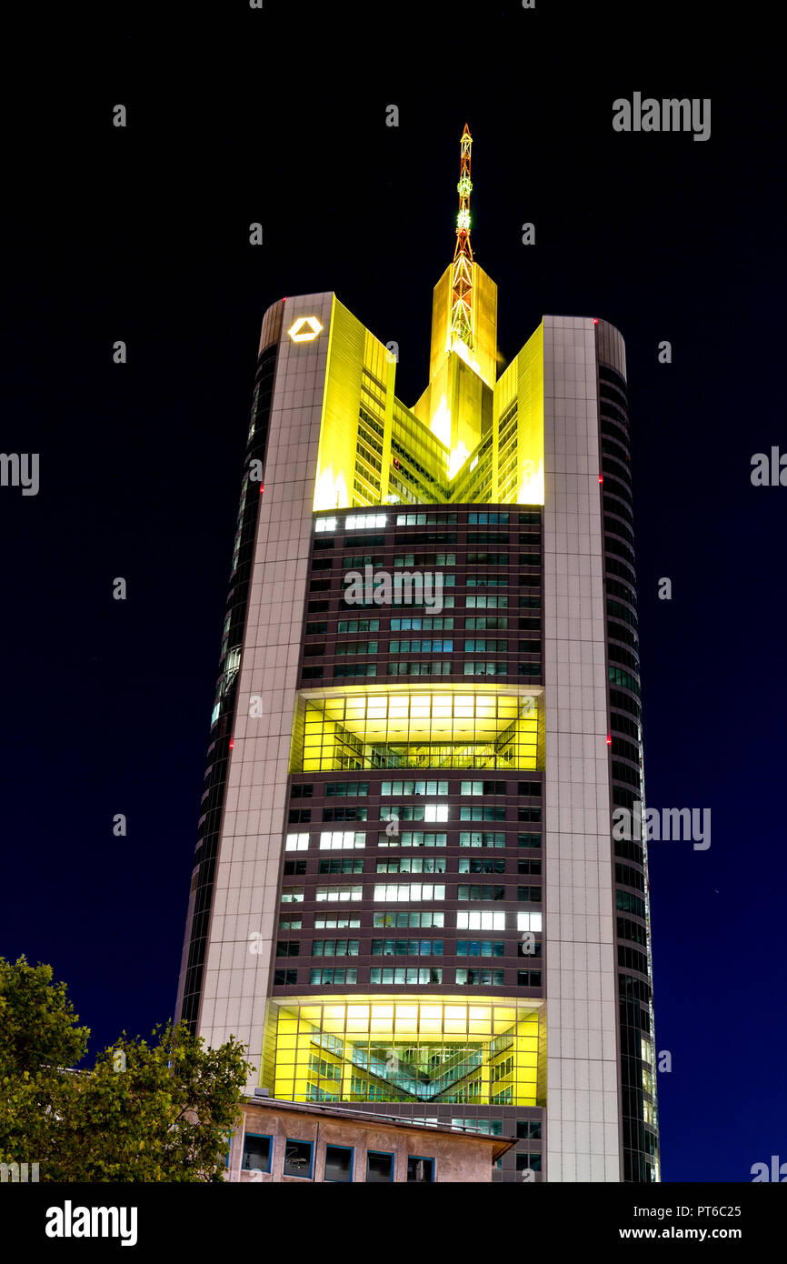 Frankfurt, Germany, October 5th, 2018 - Skycraper of the german financial institution Commerzbank in Frankfurt downtown at night - Stock Image
