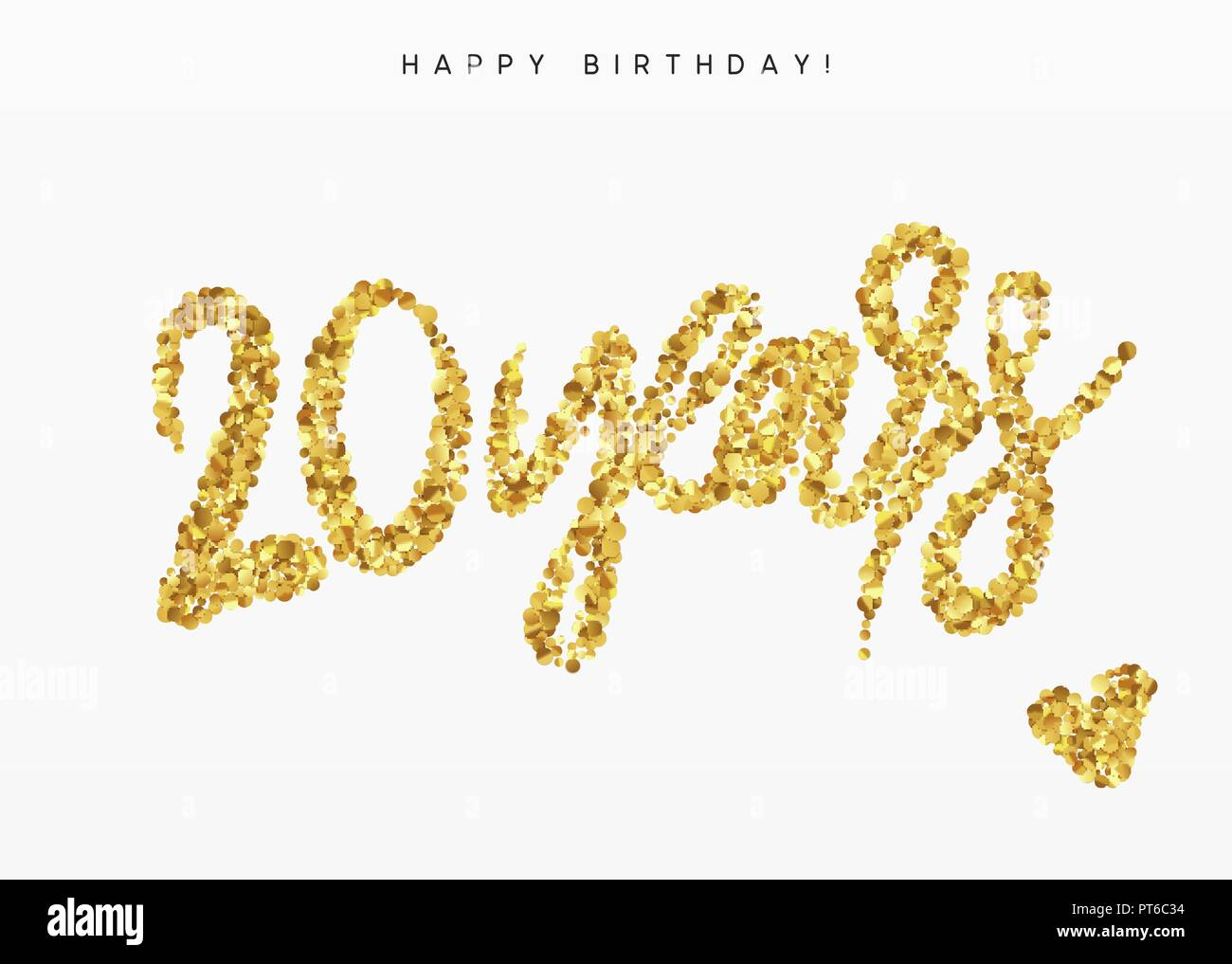 Twenty years, Number 20, lettering sign from golden confetti. - Stock Vector