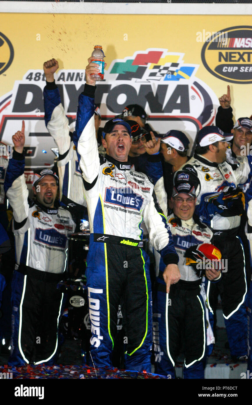 Jimmie Johnson Celebrates In Victory Lane After Winning The Nascar Daytona 500 At Daytona International Speedway In Daytona Beach Florida On February 19 2006 Stock Photo Alamy