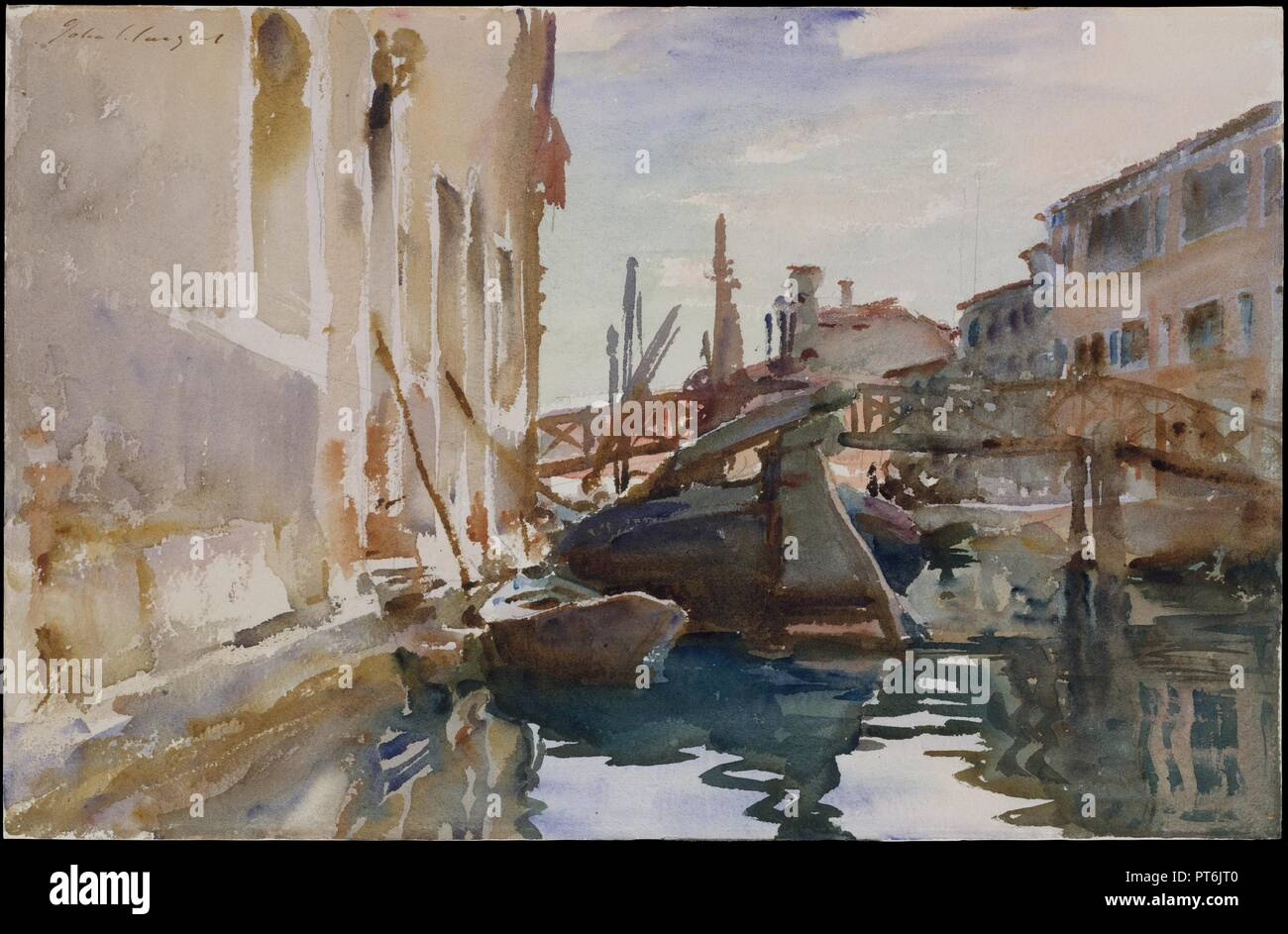 Giudecca. Artist: John Singer Sargent (American, Florence 1856-1925 London). Dimensions: 13 1/16 x 20 15/16 in. (33.2 x 53.2 cm). Date: 1913 (?).  To the south of Venice, a wide canal separates Giudecca, eight small islands, from the rest of the city. A picturesque charm has long been associated with Giudecca, attracting artists for many centuries--both Francesco Guardi (1712-1793) and Joseph Mallord William Turner (1775-1851) painted views of it. However, their images almost always include recognizable landmarks. In his rendering, Sargent avoids identifiable Venetian monuments in recording th Stock Photo