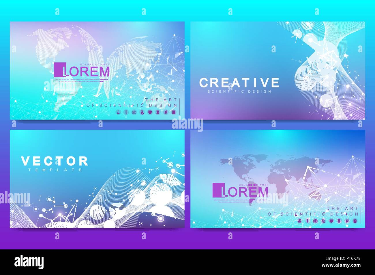 set of web page design templates for medicine science technology