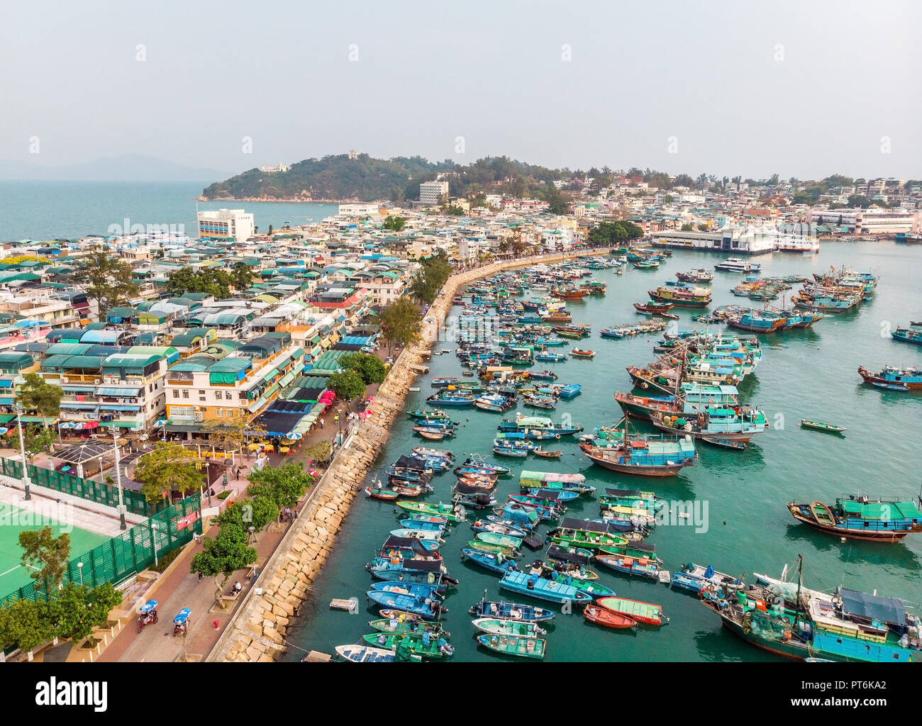 Cheung Chau Island Aerial Shot, Hong Kong Stock Photo