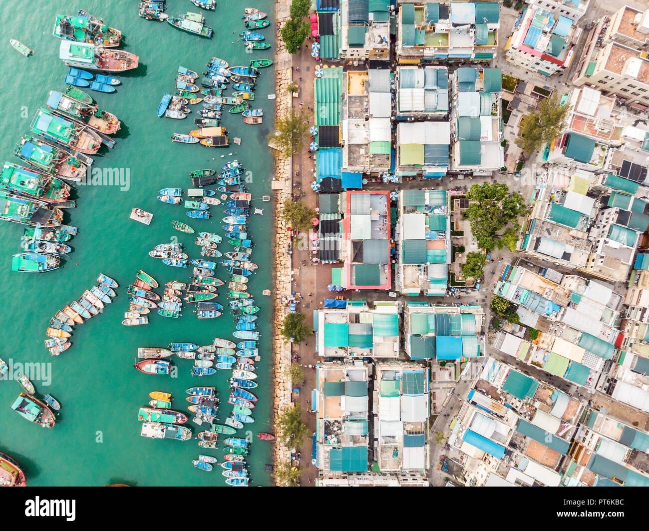Cheung Chau Island Aerial Shot, Hong Kong Stock Photo