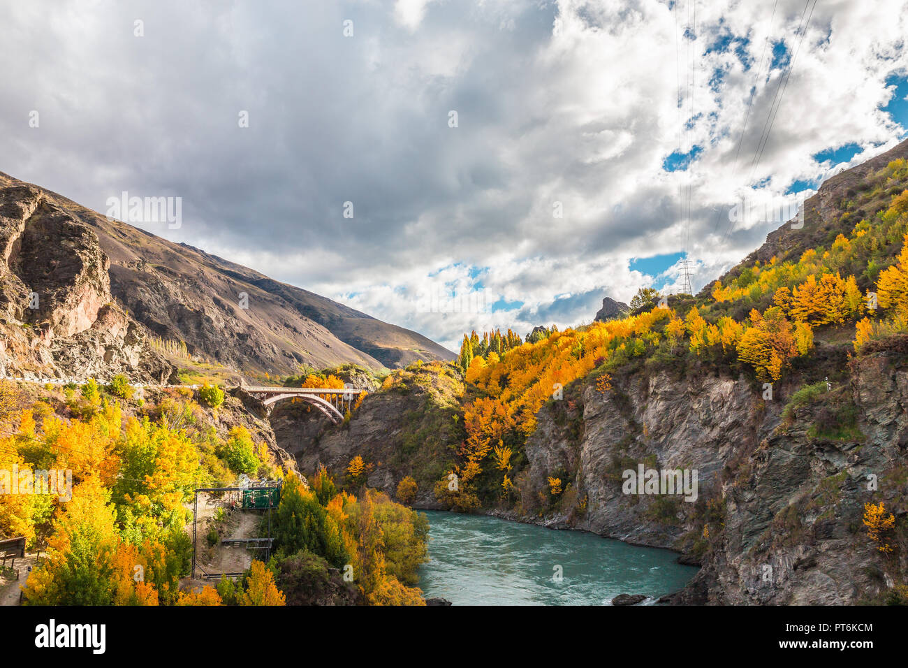 Wooden historic bridge over the shotover river, Queenstown, New Zealand Stock Photo
