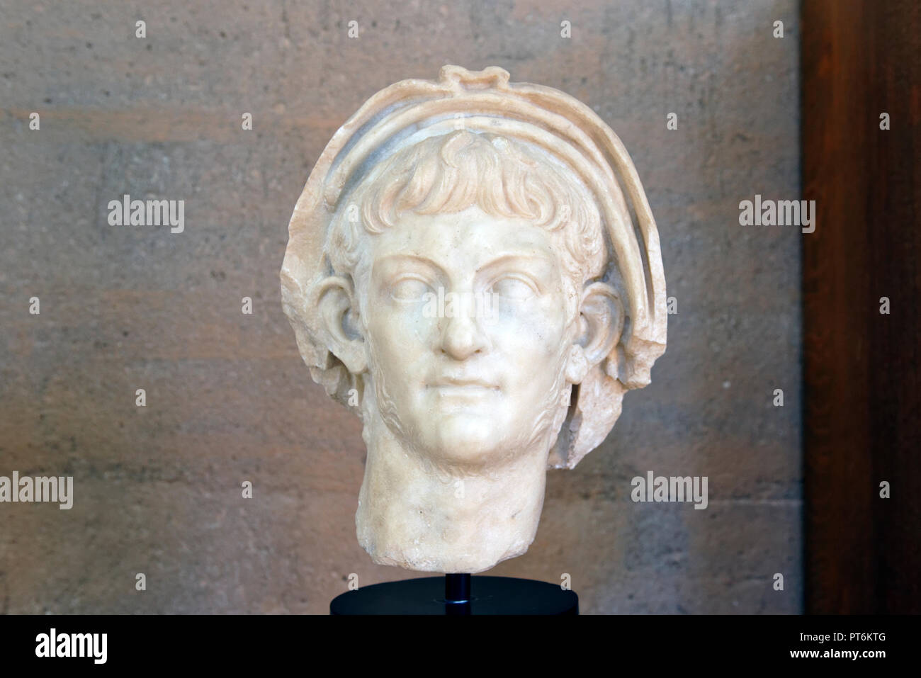 Portrait of the Emperor Nero. From the Julian Basilica. Archaeological Museum. Ancient Corinth. Peloponnese. Greece. Dates from 60 AD. - Stock Image