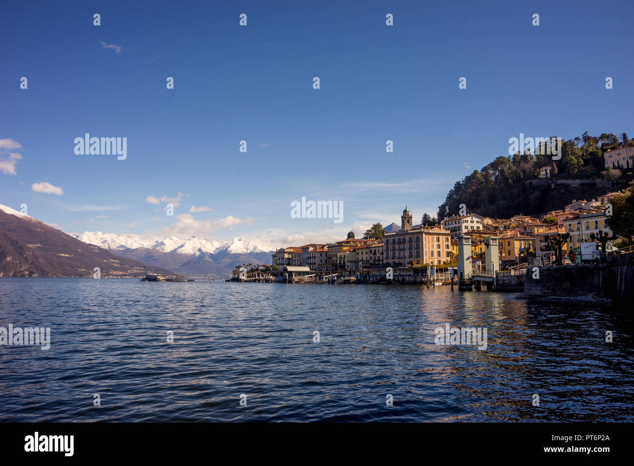 Europe, Italy, cityscape of Bellagio across lake Como - Stock Image