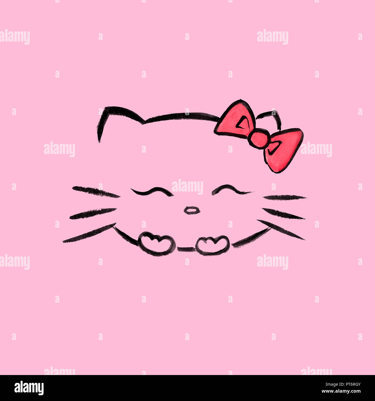 Cute, smiling Hello kitty with a red bow, Japanese kawaii cartoon character inspired sumi-e illustration. Isolated on pink background. - Stock Image