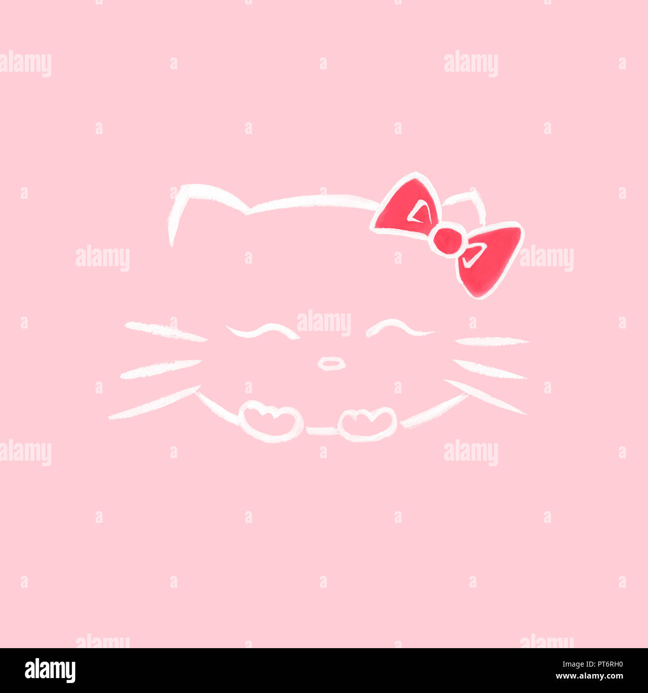 Cute smiling Hello kitty with a bow, Japanese kawaii cartoon cat character inspired sumi-e illustration white on soft baby pink background. - Stock Image