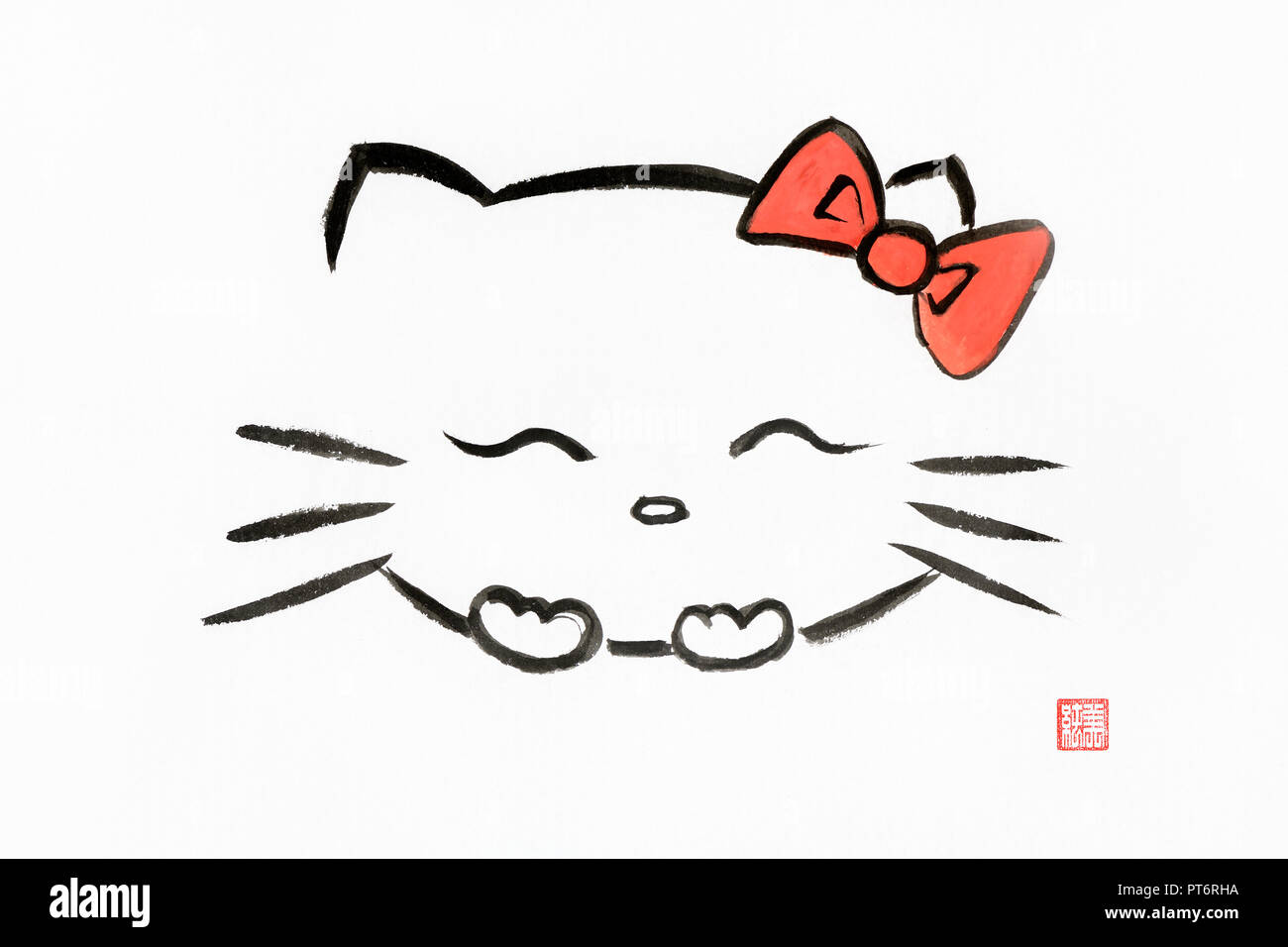 Hello kitty, happy giggling japanese kawaii cartoon character with a red bow. Artistic oriental style illustration, Japanese Zen Sumi-e ink painting o - Stock Image