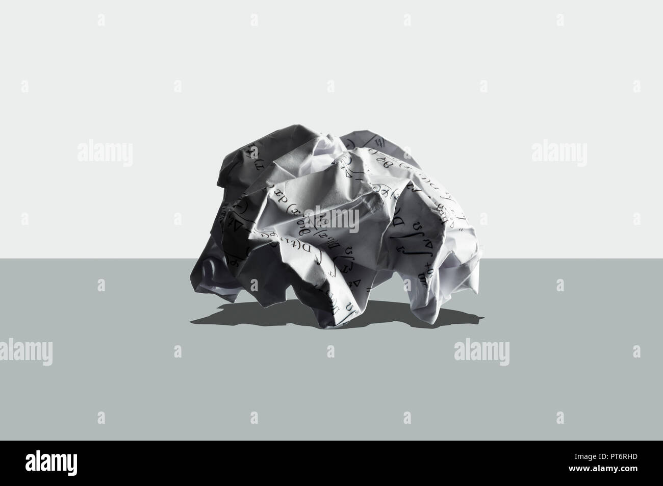 Concept Crumpled Paper with Algorithm, Formula, Science - Stock Image