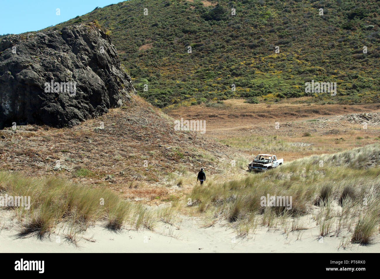 Man walks across sand dunes and grass toward an abandoned truck in northern California - Stock Image