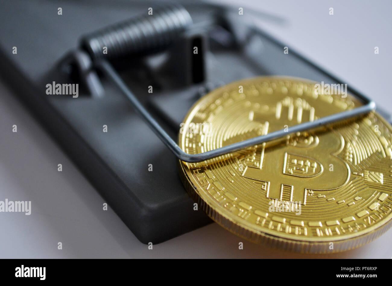 Bitcoin coin in a trap Stock Photo