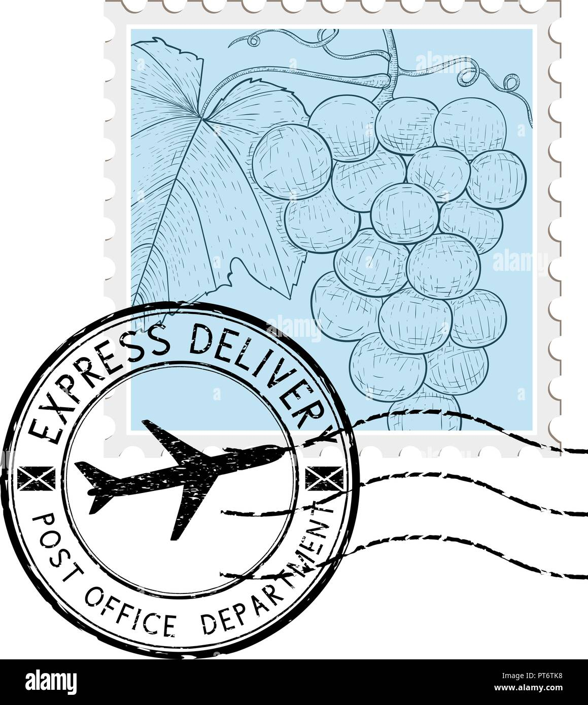 Postal stamp with grapes and round postmark - Stock Image