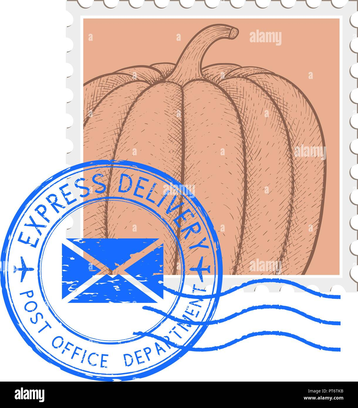 Postal stamp with pumpkin and blue round postmark - Stock Image