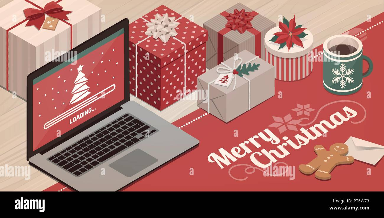 Laptop Loading Christmas App Colorful Gifts And Decorations