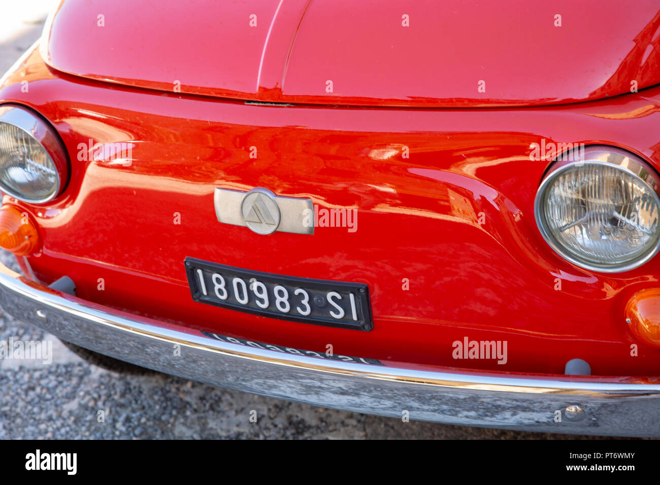 Classic vintage Fiat 500 Giardiniera motor car parked in Montepulciano,Tuscany,Italy - Stock Image
