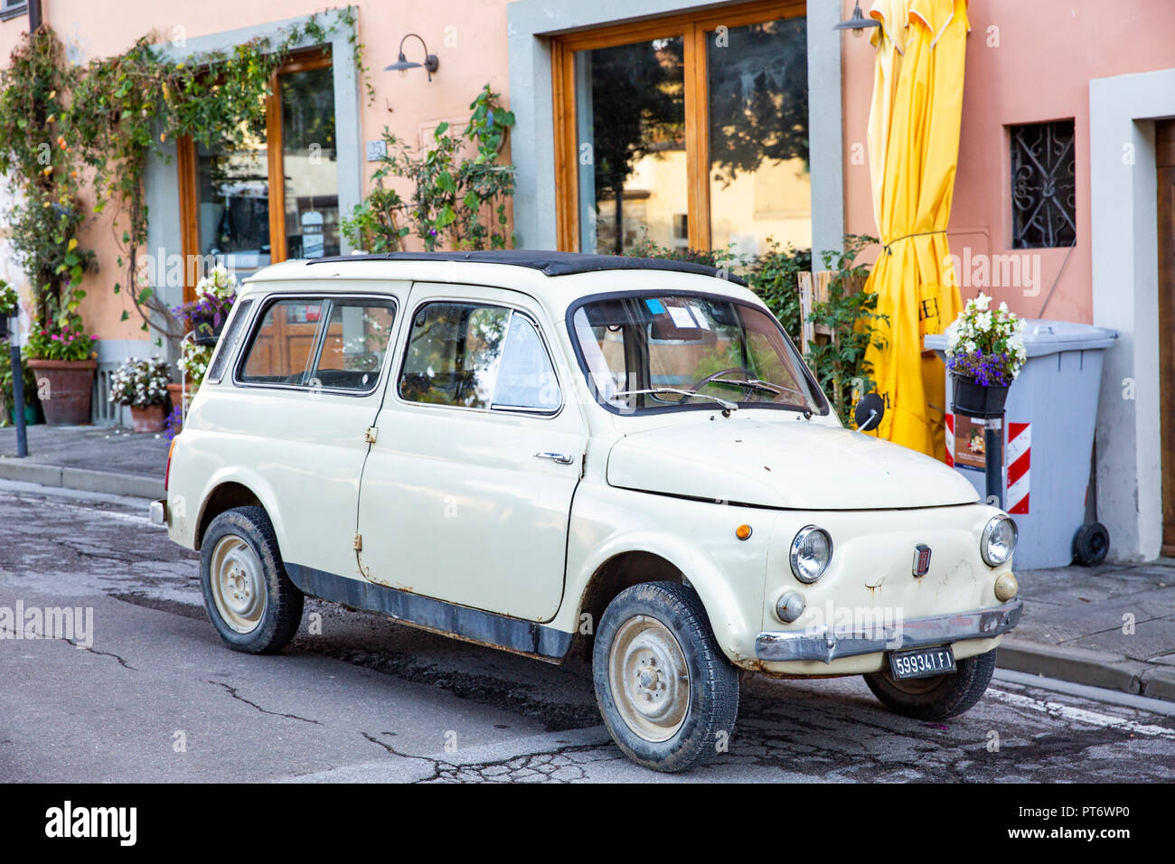 Classic Fiat Giardiniera estate model of the Fiat 500 in Panzano,Tuscany,Italy - Stock Image