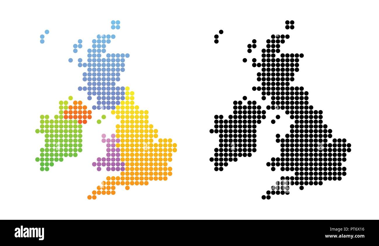 Map Of Uk Ireland.Map Of United Kingdom And Ireland In Black And Color Stock Vector