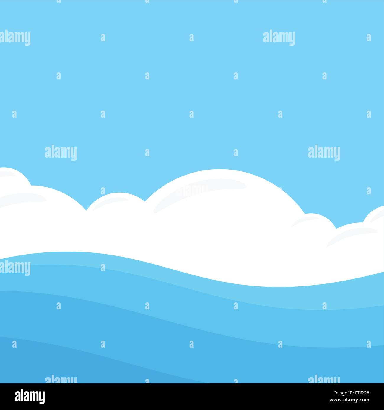 Seascape in Flat style - Stock Vector