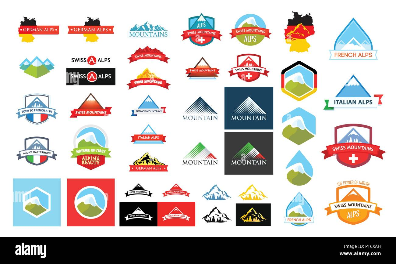 Logotypes with Alpine Mountains - Stock Vector