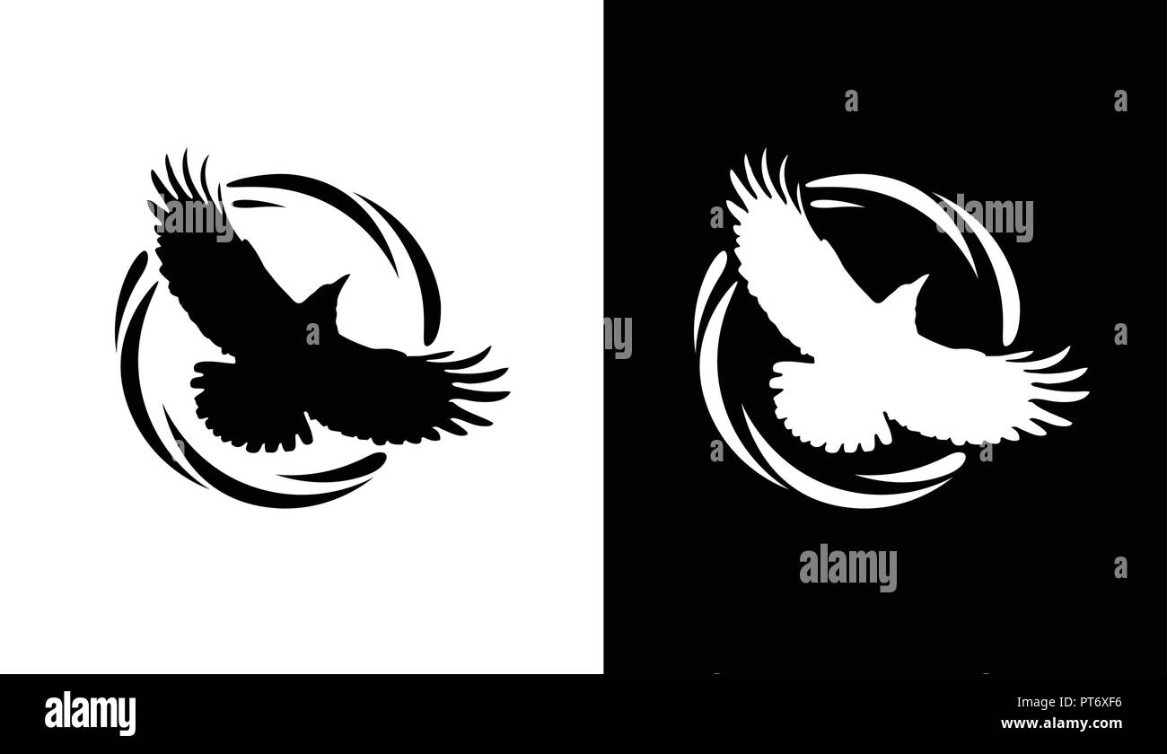 Round Logos with Raven in black and white - Stock Image