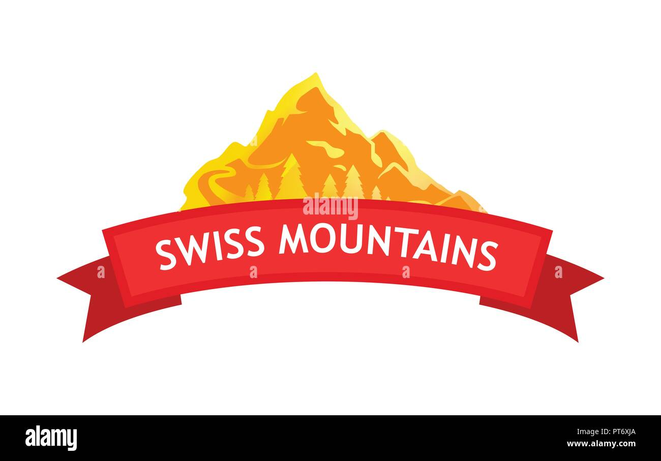 Vector Logo of Swiss Mountains - Stock Image