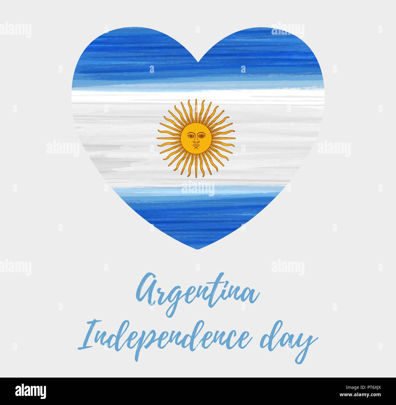 Argentina Abstract Brushed Watercolor Grunge Flag In Heart Shape